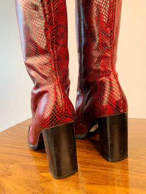 Red Snake Square Toe Boots