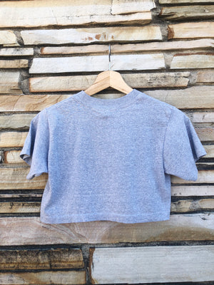 1983 Heather Grey Racing Cropped Tee - XS