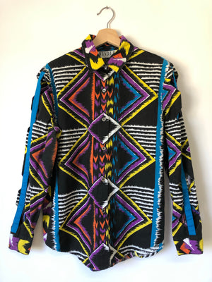 80's Western Shirt w/ Cut Outs - M