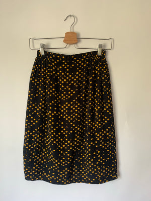 Lovely Yellow & Black Dot Skirt - XS