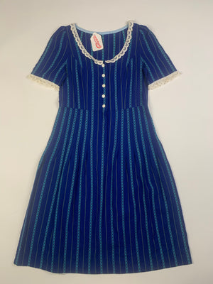 Striped Dress w/ Eyelet Trim - L