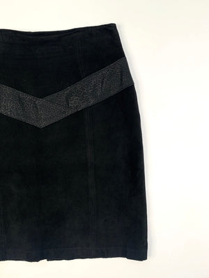 80's Black Suede Skirt - M