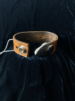 Tooled Leather Belt Cuff