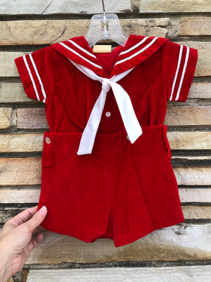 Kiddo Red Velvet Sailor Outfit - 12 M
