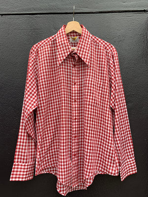 70's Brick Gingham Dagger Collar Shirt - L