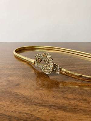 Gold 1970's Rhinestone Stretchy Belt
