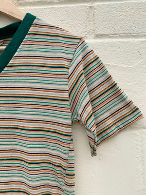 70's Green Striped Soft V-Neck Tee - S