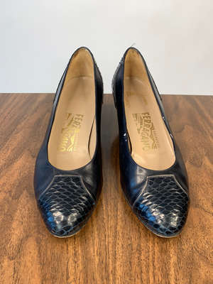 Ferragamo Navy Snake Pumps