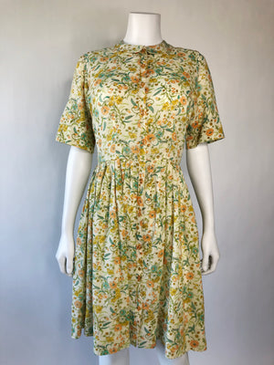 Yellow Floral Sheer Cotton Mid-Century Day Dress