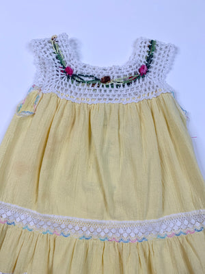 Kiddo Yellow Gauze & Crochet Dress - 3T