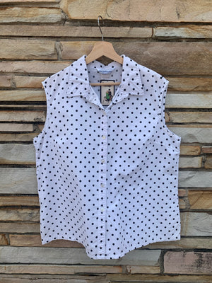 Black & White Polka Dot Sleeveless Top - XL