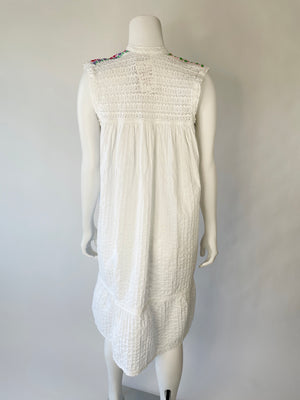 1970's White Cotton Embroidered Open Work Guatemalan Dress
