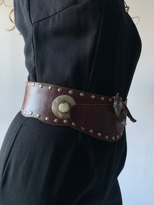 Dark Leather Studded Toggle Belt
