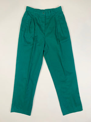 High Waisted Forest Green Cotton Pants