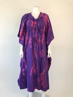 Thrashed Purple Tie-Dye Cinch-Waist Maxi Dress