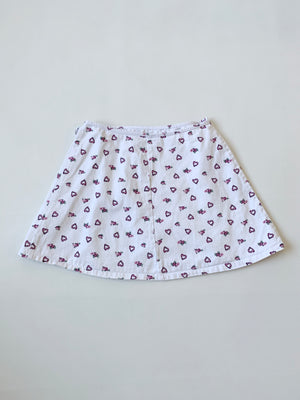 Heart-Print White Denim Wrap Skirt