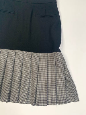 Escada Black & White Pleated Skirt - S