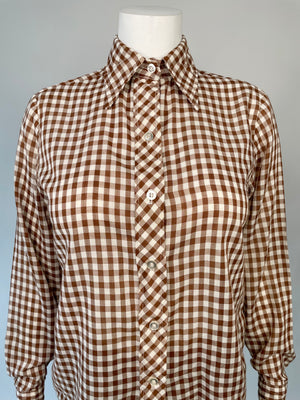 70's Brown Gingham Shirt