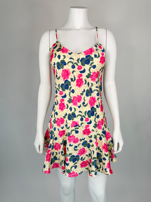1990's Pink Floral Chemise/Slip Dress