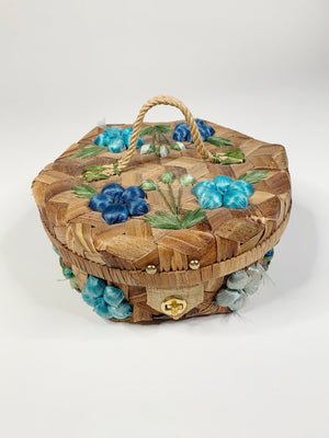 70's Floral Straw Overnight Case
