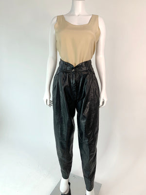 Soft 1980's Pleated Leather Pants