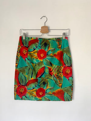 90's Stretchy Floral Mini Skirt - M
