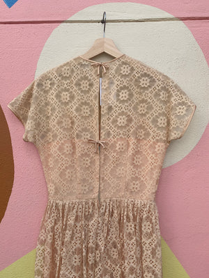 Mid-Century Peachy Lace Dress - S