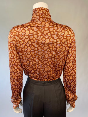 Slinky Brown Paisley Blouse