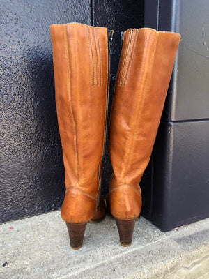70's Heeled Brown Leather Boots
