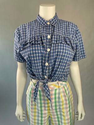 1990's Blue Plaid Tie-Front Top