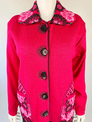 Super Soft Hot Pink Cardigan w/ Rhinestones & Big Pockets