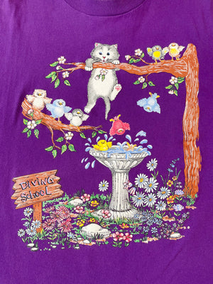 1980's Kitty & Birds Bird Bath Tee