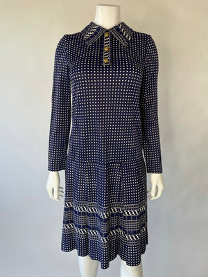 1960's Drop Waist Diamond Pattern Shirt Dress