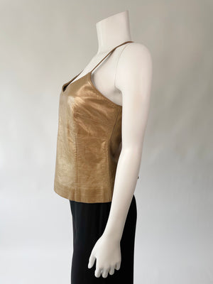 Super Soft Gold Leather Camisole