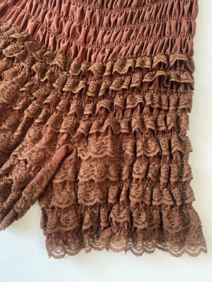 Brown Ruffle Lace Bloomers