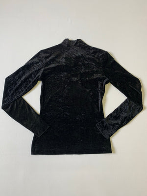 Black Crushed Velvet Mock Neck Top - XS