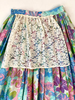 Mid-Century Floral Skirt w/ Lace Apron