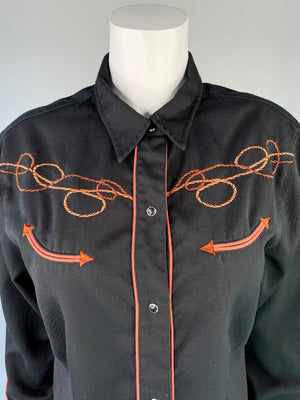 Rope-Embroidered Roper Pearl Snap