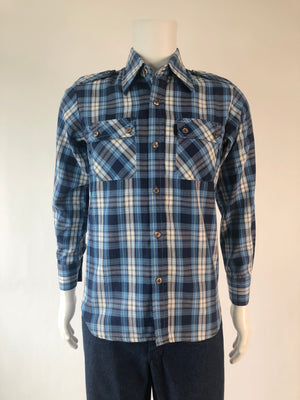 70's Blue Plaid Patch Pocket Shirt
