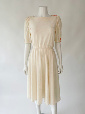 1980's Ivory & Pink Gauzey Dress