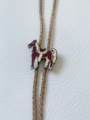 Brown Bolo Tie w/ Red Horse