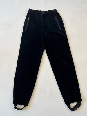 Slim Escada Black Velvet Stirrup Pants