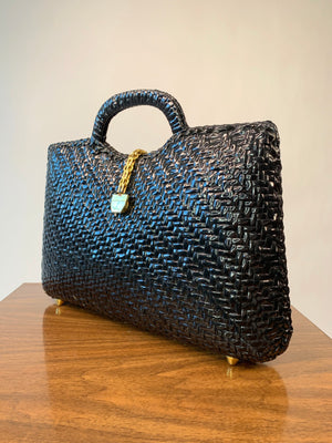 Black Woven Hardshell Tote w/ Gold Chain