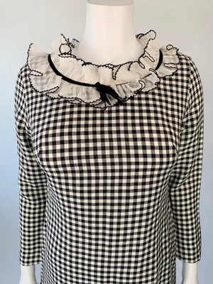 Black & White Gingham Ruffle Collar Dress