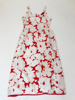 70's Red & White Floral Dress - XS