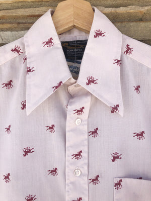 Pinkish 70's Horse Weathervane Print Shirt - M