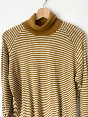 Mustard Striped Knit Turtleneck - L