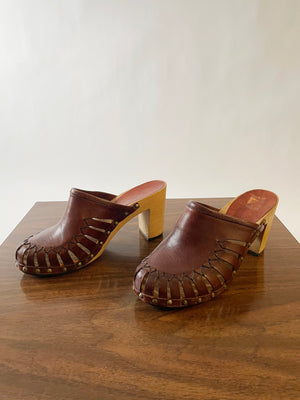 Brown Leather 70's Clogs