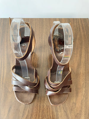 Brown Leather Strappy Sandals w/ Cut Out Heels