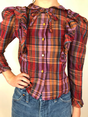 80's Purple Plaid Lurex Ruffle Top - S